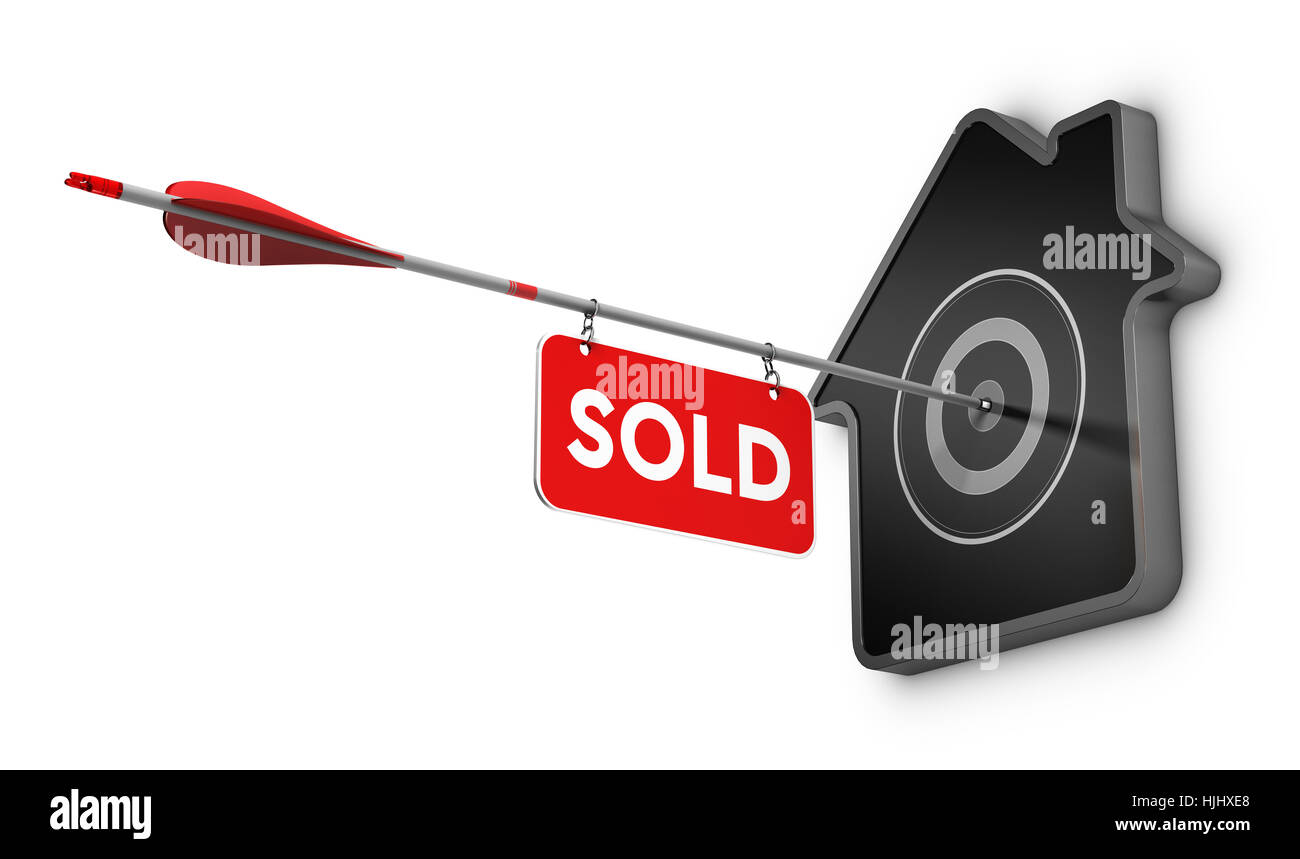 3D illustration of an arrow and sold sign hitting the center of a home shaped target, Real estate concept over white - Stock Image