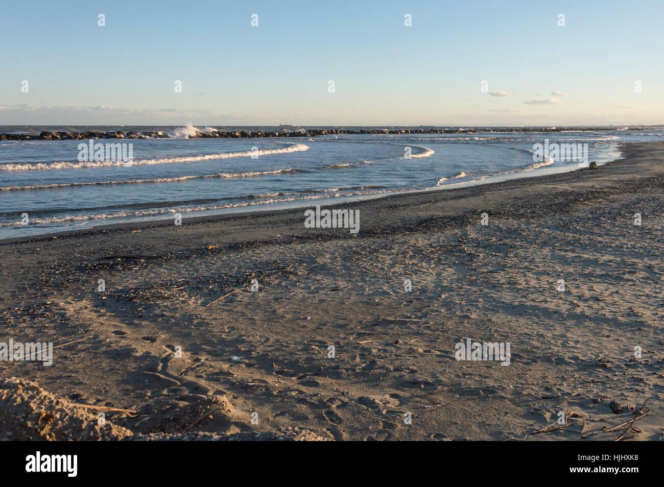 Winter cold sea in Adriatic coast, Italy - Stock Image