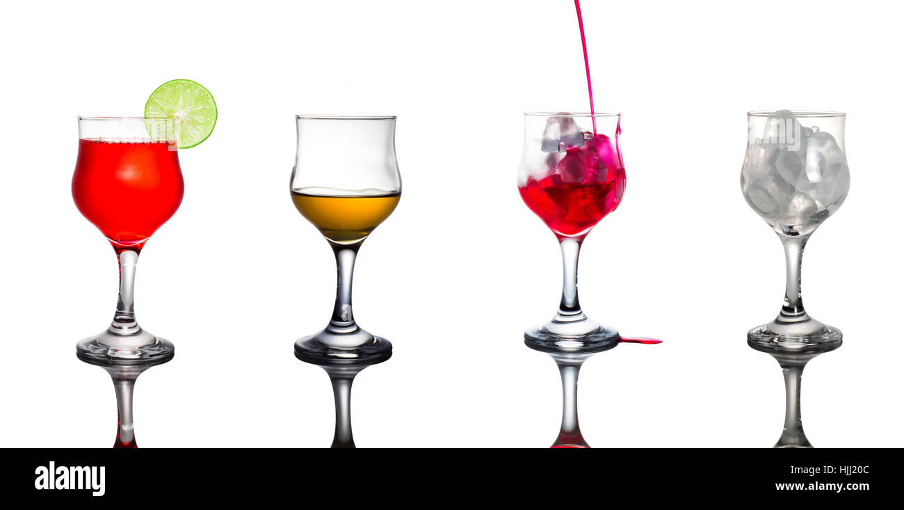 A variety of drinks in glasses.On white background. - Stock Image
