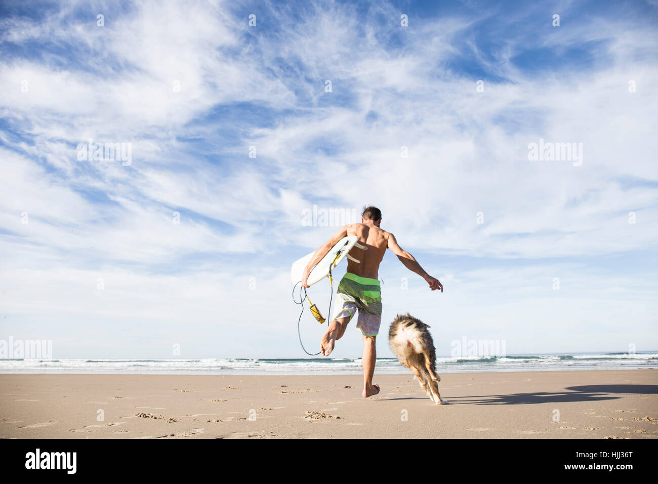 Man carrying surfboard running with dog on the beach - Stock Image