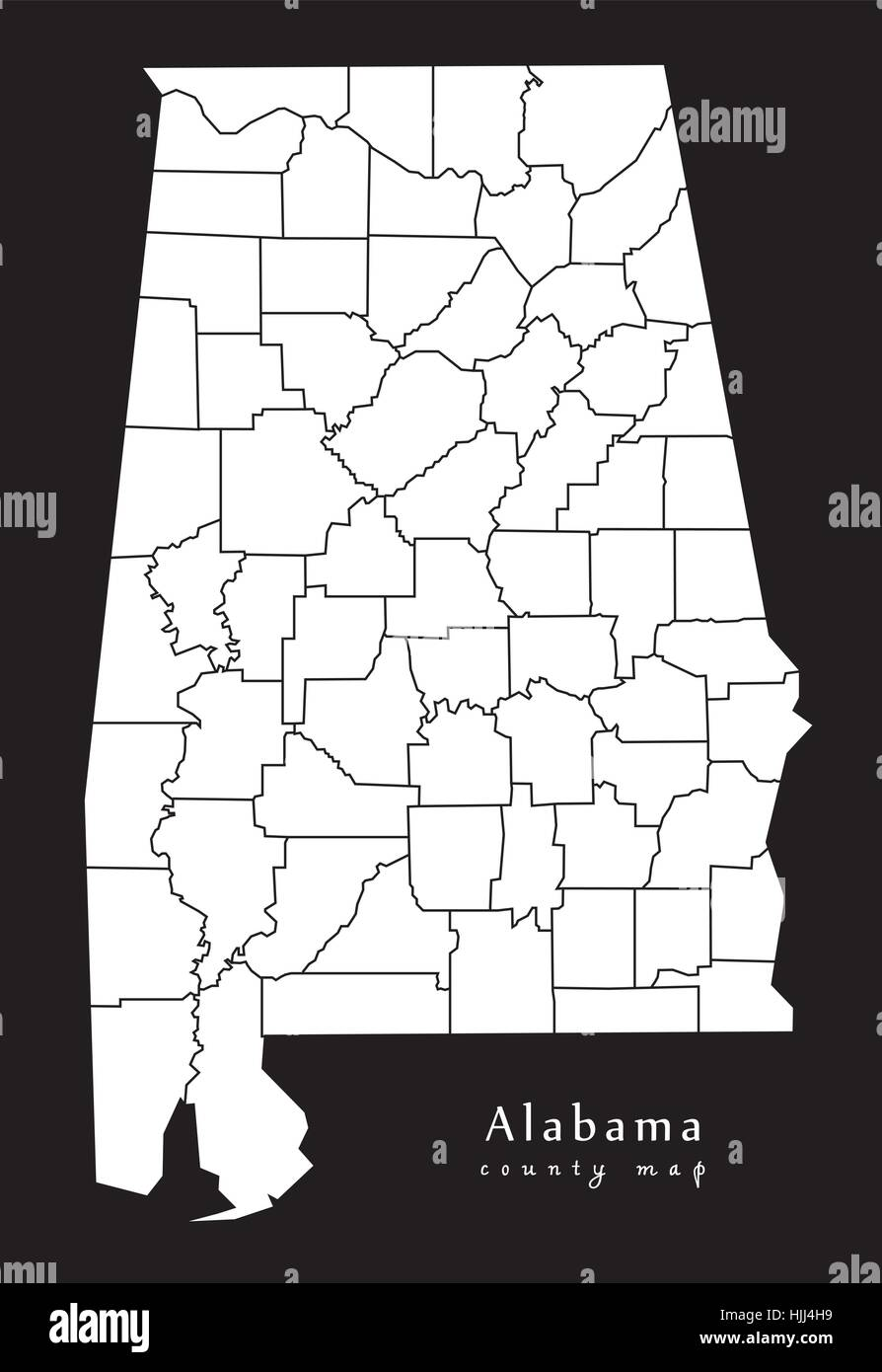 modern map alabama county map usa black and white silhouette illustration