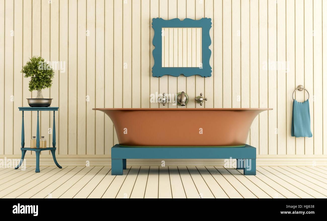 wood, interior, vintage, copper, bath tub, tub, bathtub, bathroom ...