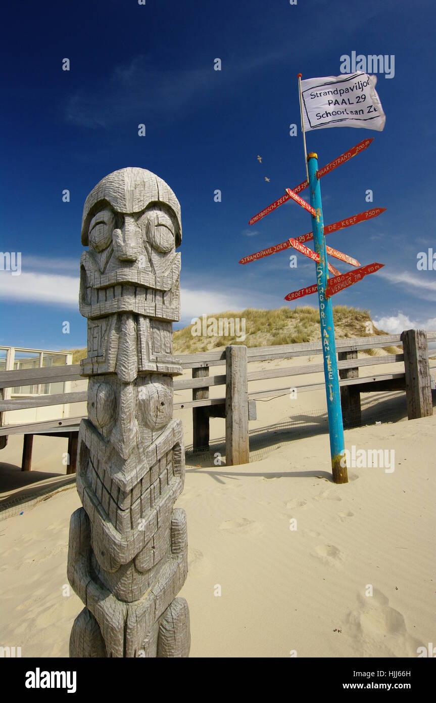 sculpture, water, north sea, salt water, sea, ocean, holland, dunes, firmament, Stock Photo