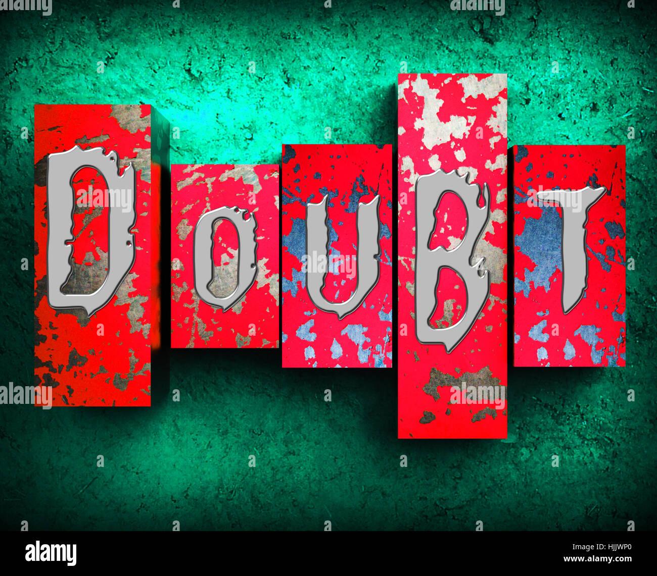 Doubt Word Showing Melancholy Fatalistic 3d Illustration - Stock Image