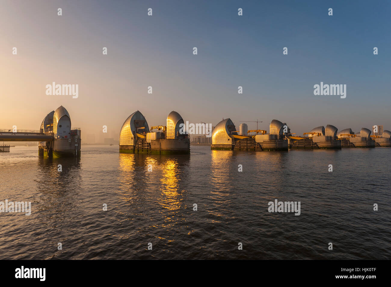 The thames Barrier at Woolwich Kent. in evening light. - Stock Image