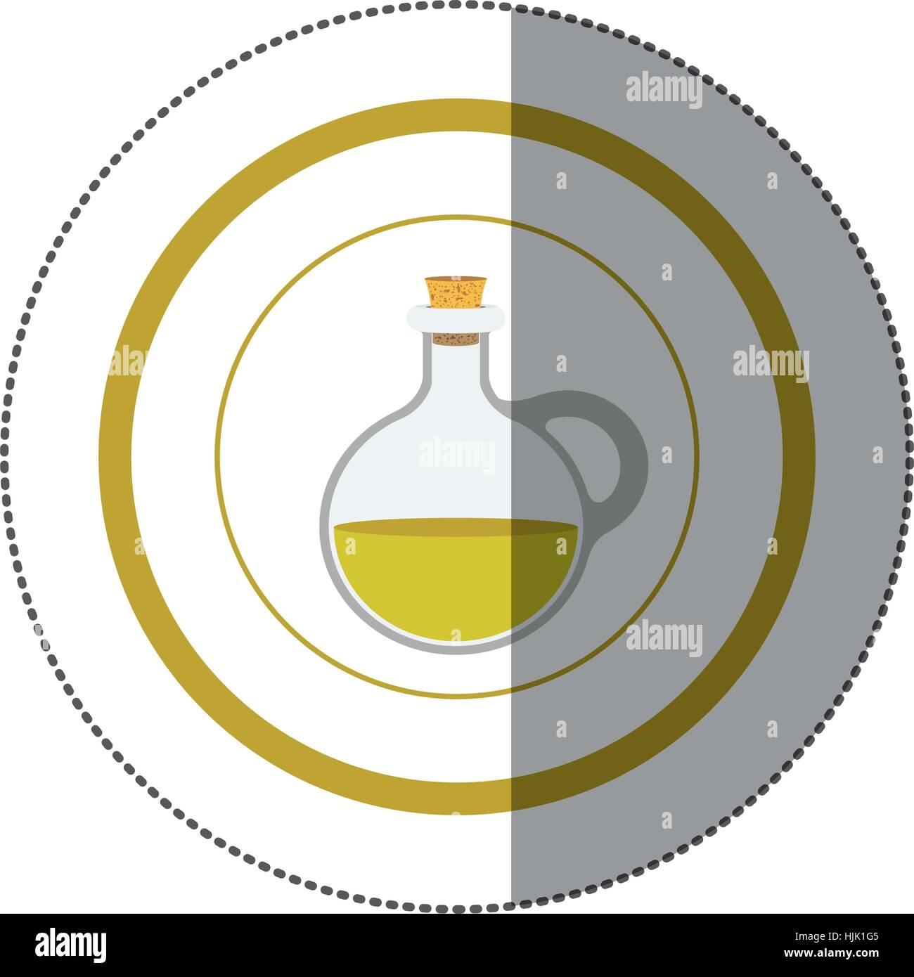 sticker circular shape with rounded glass jar with cork stoppers vector illustration - Stock Vector