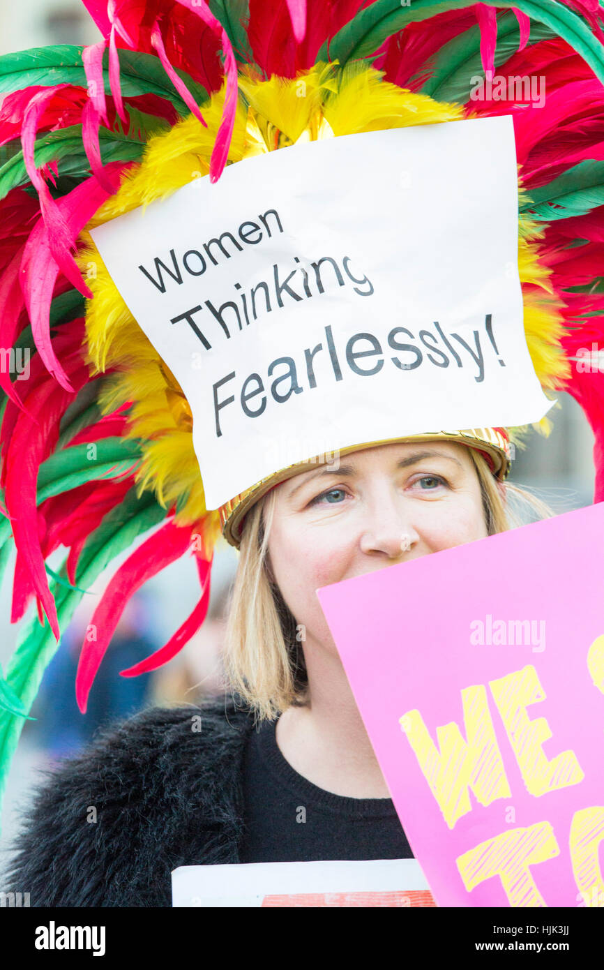 Women's march takes place in London, UK. It's part of a global protest against the  US president Donald - Stock Image