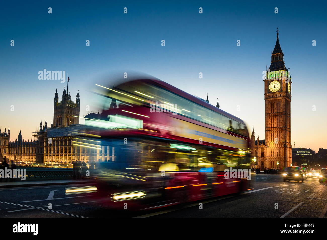 Night view at London Bus, double decker and Big Ben Stock Photo