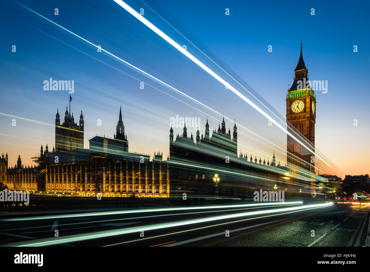Night view at London Bus, double decker and Big Ben - Stock Image