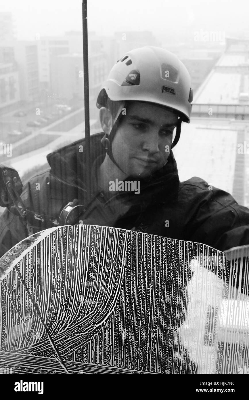 Documentary photography of the Cardiff Window Cleaning Company Stock Photo