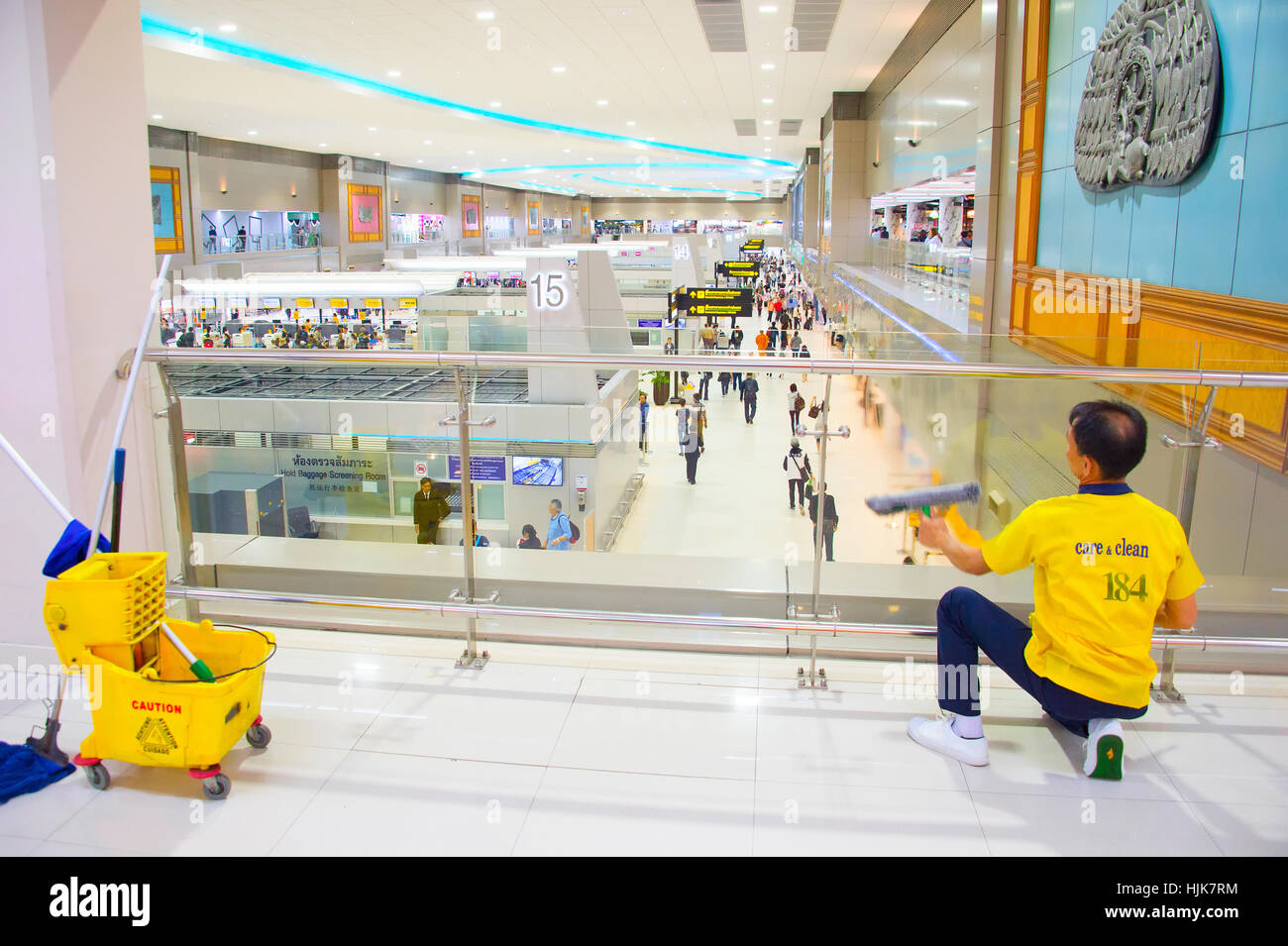 Cleaning service at work in the Don Mueang International Airport . - Stock Image