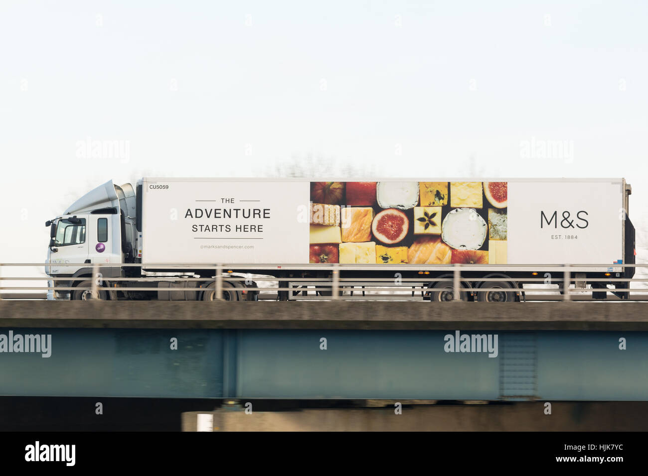 M&S Marks and Spencer distribution lorry in Scotland, UK - Stock Image