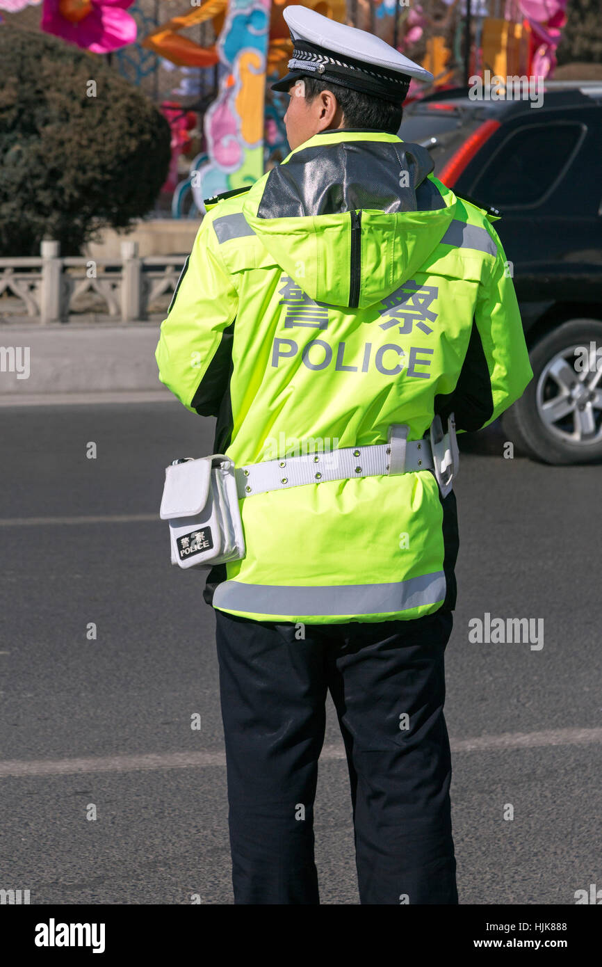 Traffic police, Yinchuan, Ningxia Province, China - Stock Image
