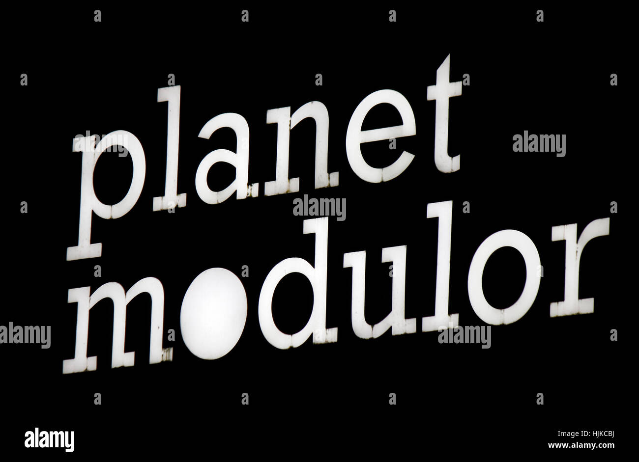 das Logo der Marke 'Planet Modulor', Berlin. - Stock Image