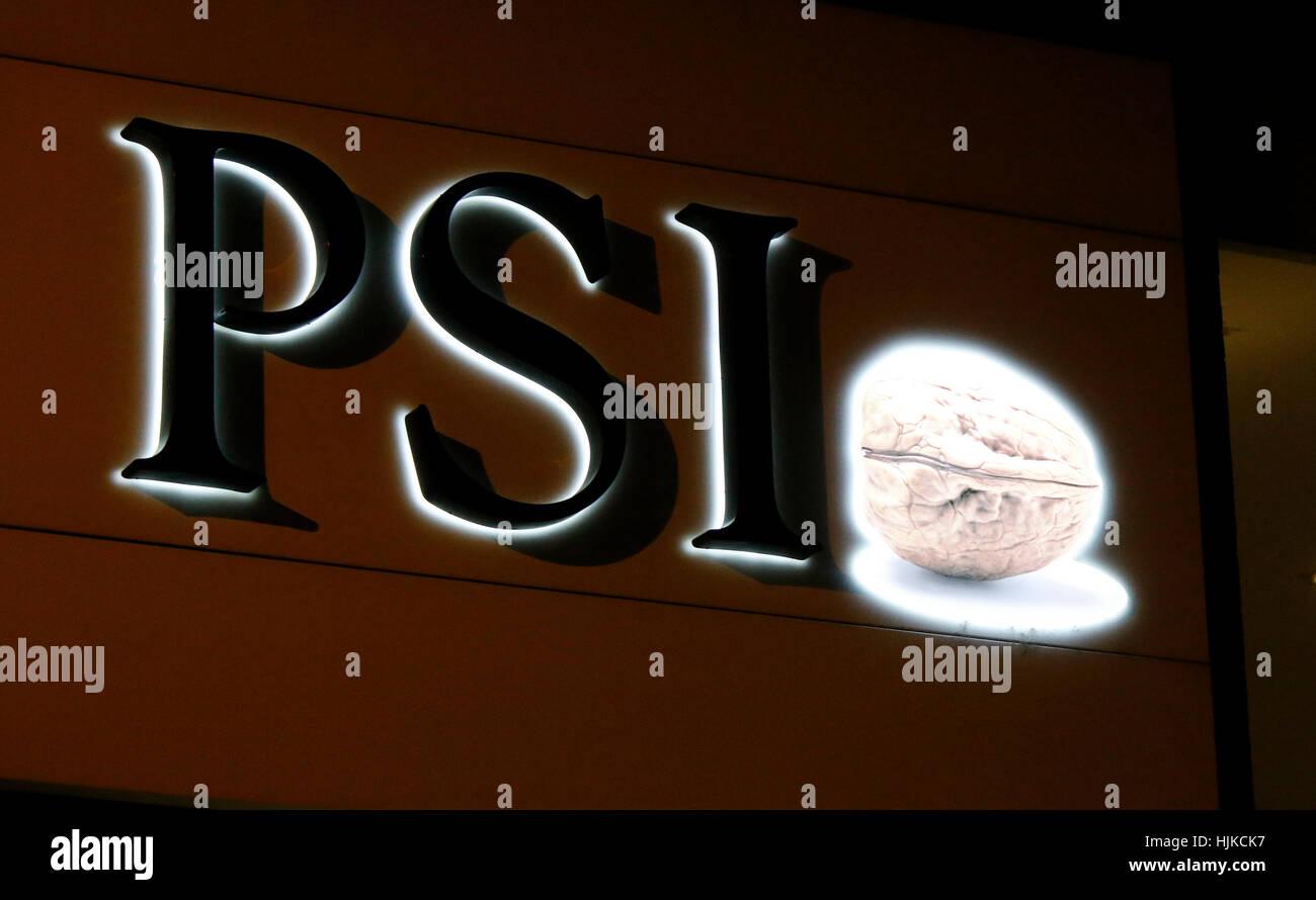 das Logo der Marke 'PSI', Berlin. - Stock Image