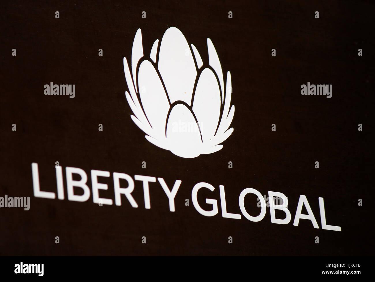 das Logo der Marke 'Liberty Global', Berlin. - Stock Image