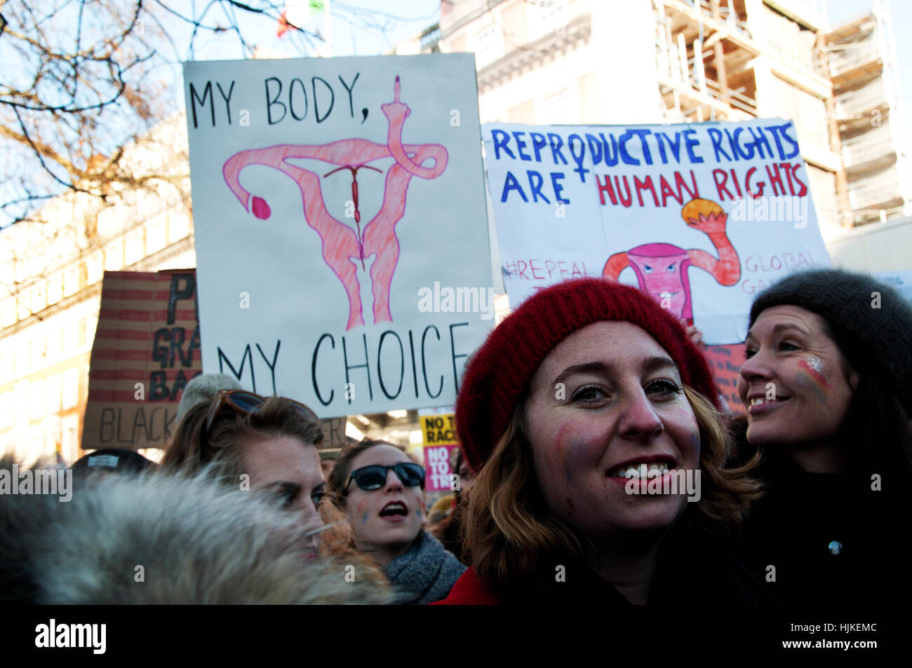 Women's anti-Trump march,A placard with a drawing of female genitalia giving the finger and the words 'My - Stock Image