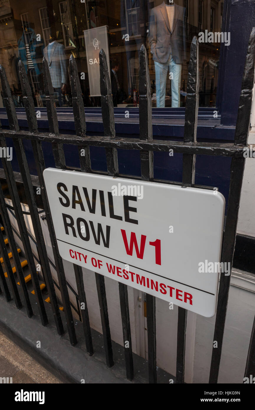 London street sign for Saville row W1 the home of tailoring for men in Westminster - Stock Image