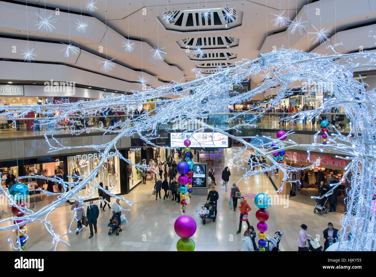 Christmas decorations, Queensgate shopping centre, Peterborough - Stock Image
