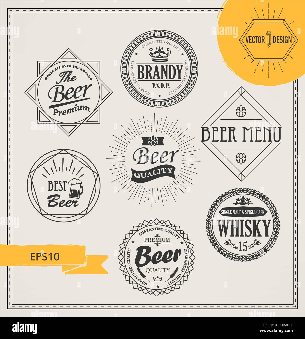 Vector alcohol logos and emblems in outline style. Set of Retro Vintage Insignias and Logotypes. Labels, Badges, - Stock Vector