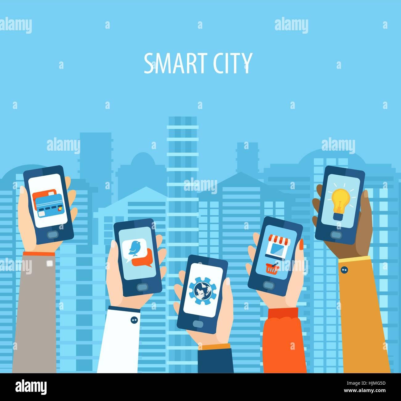 Vector illustration concept of hands holding smart-phones . Flat design modern vector illustration icons set of Stock Vector