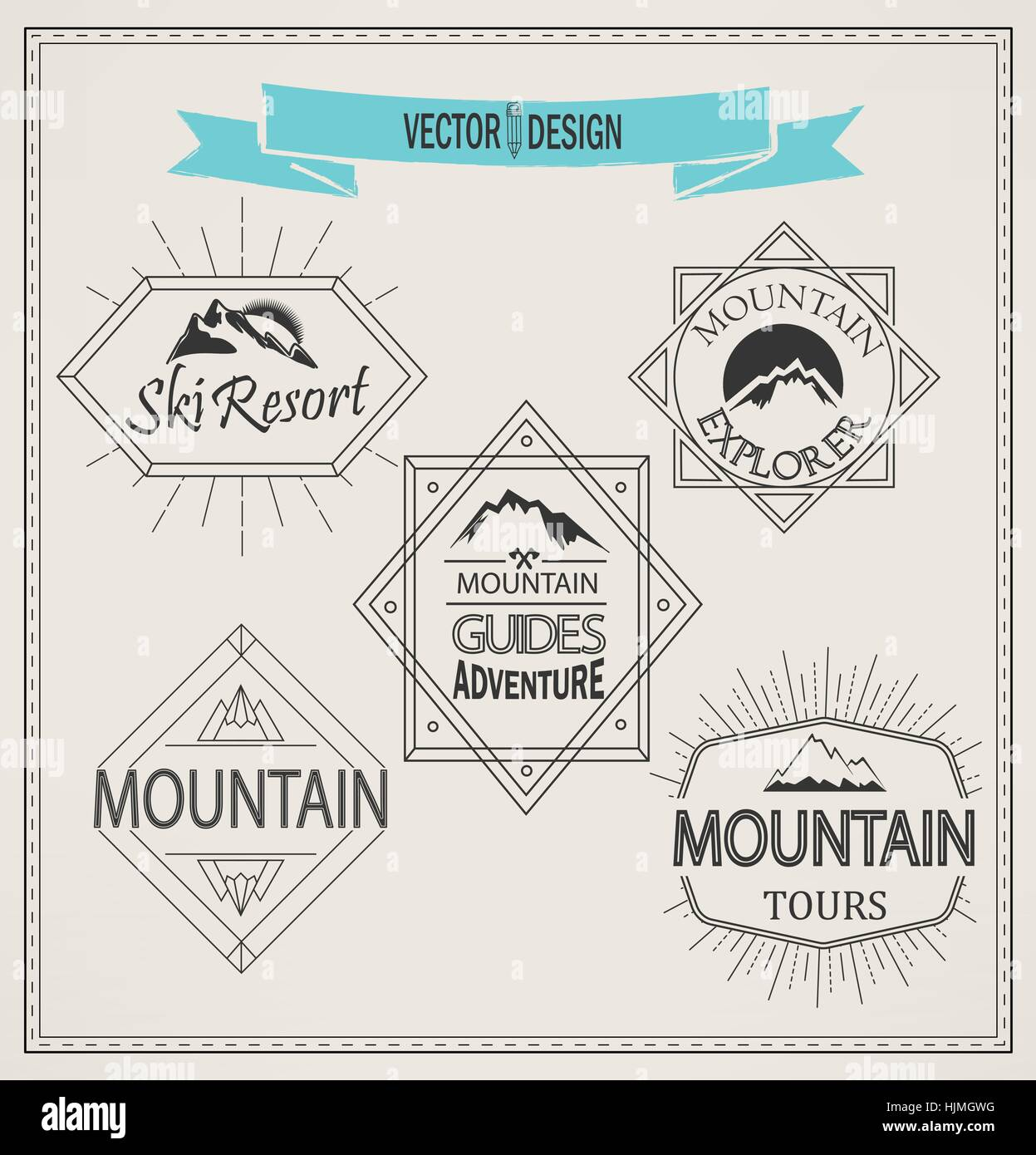 Vector mountain logos and emblems in outline style. Set of Retro Vintage Insignias and Logotypes. Labels, Badges, - Stock Image