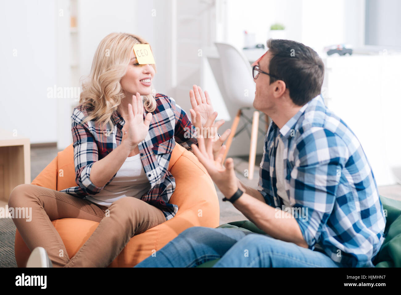 Nice positive people interacting with each other - Stock Image
