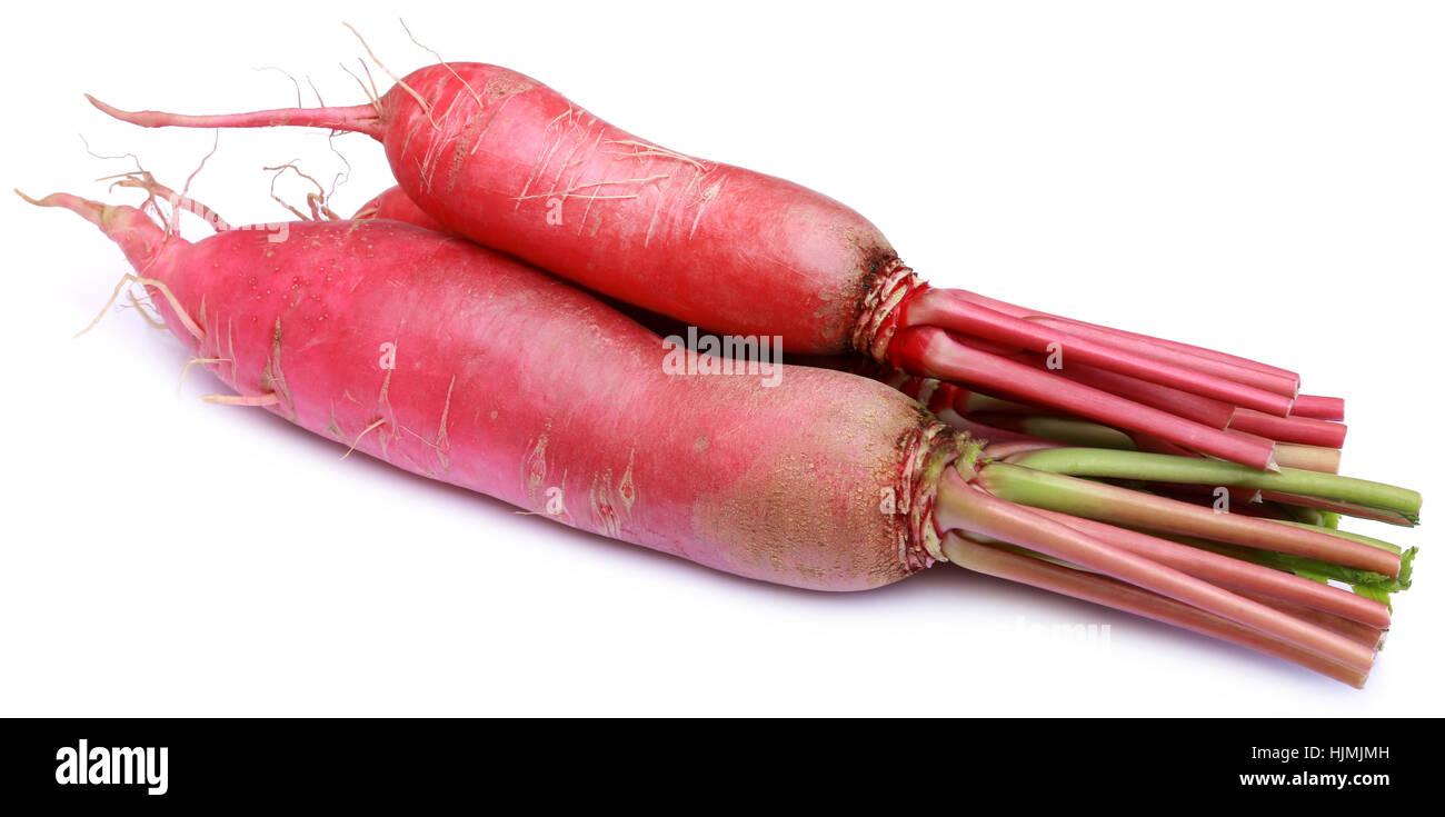 Closeup of red radish over white background Stock Photo