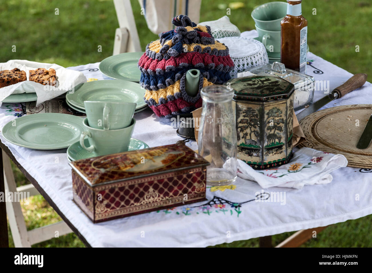 1940's Dinner Table Set up as Part of a 1940's Re-enactors Weekend in Barnard Castle. - Stock Image