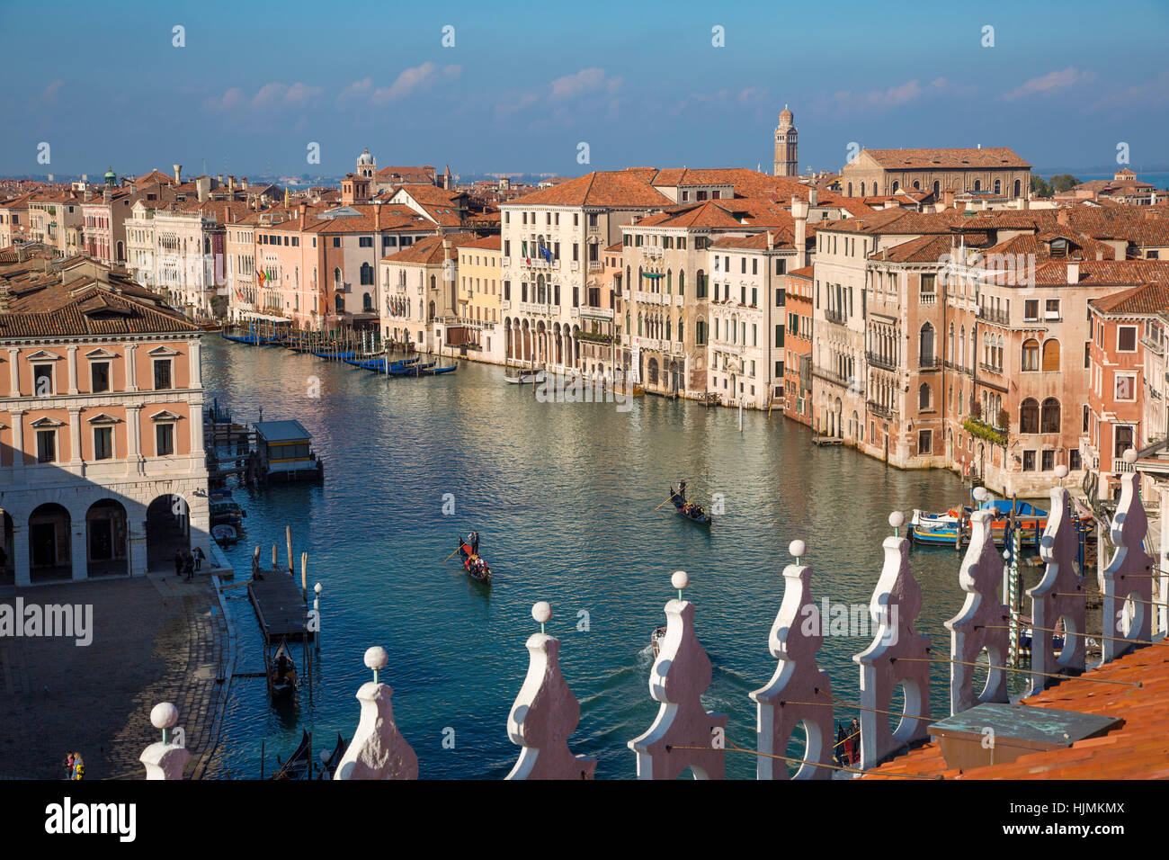 Rooftop view of the Grand Canal from the Fondaco dei Tedeschi (b. 1228) - now a department store nr Rialto Bridge, - Stock Image