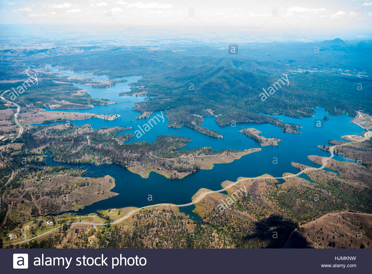 Lake Wyaralong from the sky, in the Queensland Hinterland - Stock Image