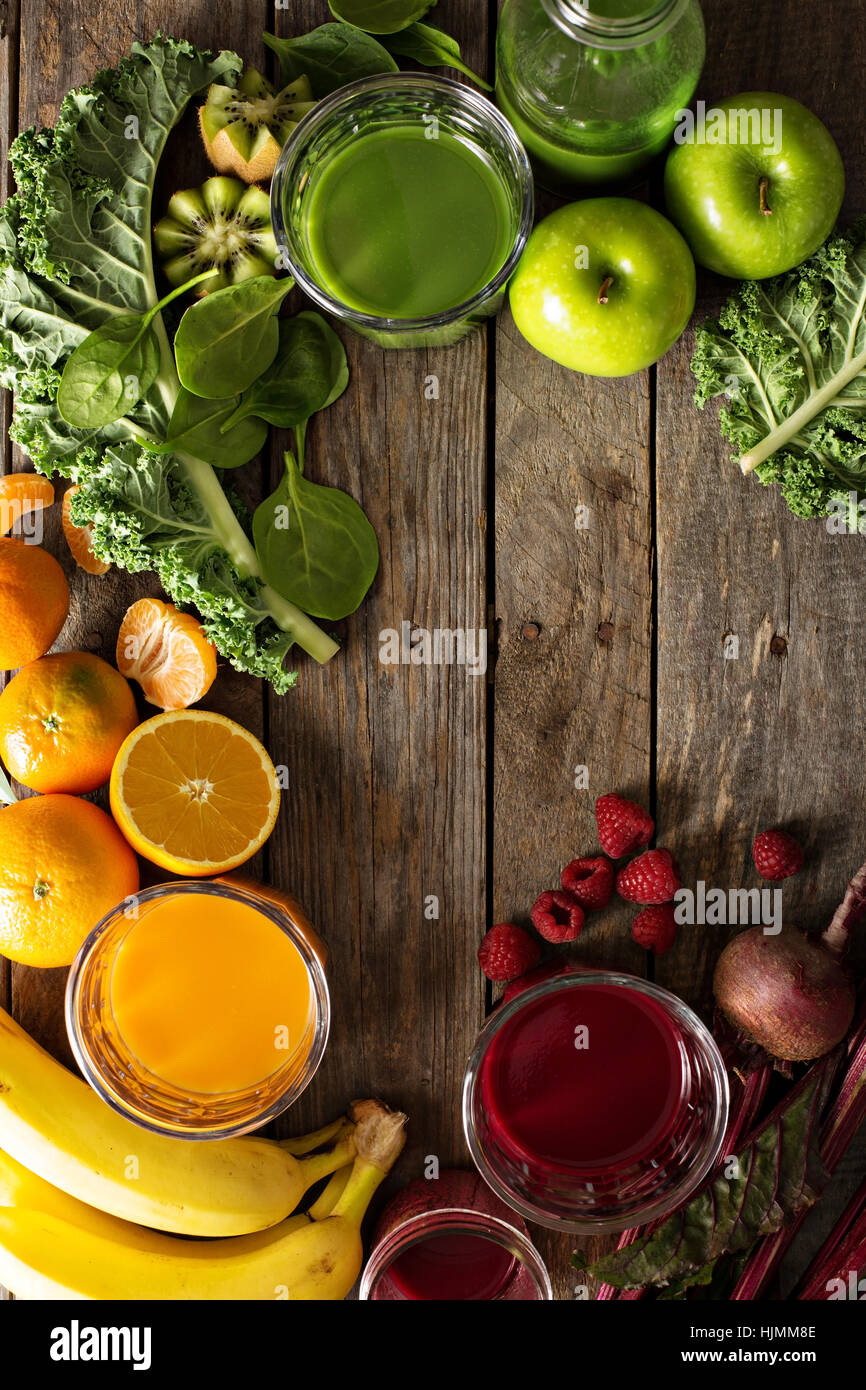 Variety of fresh vegetable and fruit juices - Stock Image