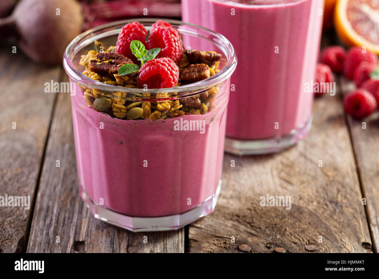 Healthy beetroot and raspberry smoothie - Stock Image