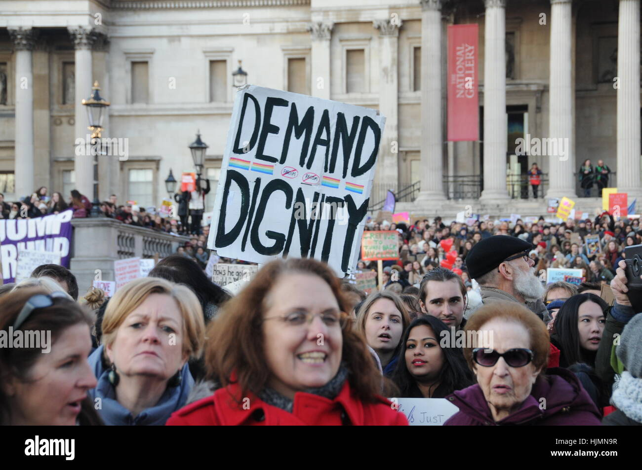 Protesters from the 2017 Women's March, against US President, Donald Trump, in London's Trafalgar Square. Stock Photo