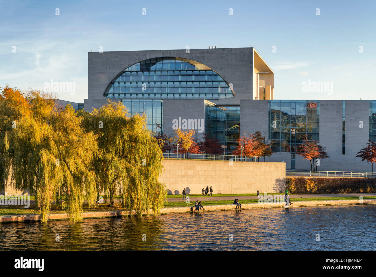 Bundeskanzleramt , federal chacellery, autumn, River Spree, Berlin, Germany - Stock Image