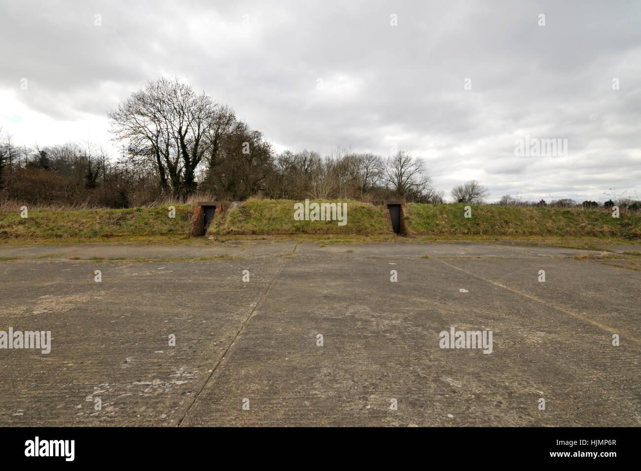 Kenley Aerodrome, Blast pen bunkers - Stock Image