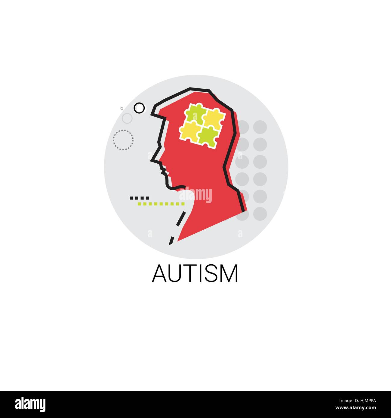 Autism Mental Health Brain Activity Icon - Stock Vector