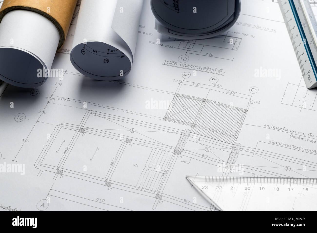 Engineering diagram blueprint paper drafting project sketch stock engineering diagram blueprint paper drafting project sketch architecturalselective focus malvernweather Choice Image