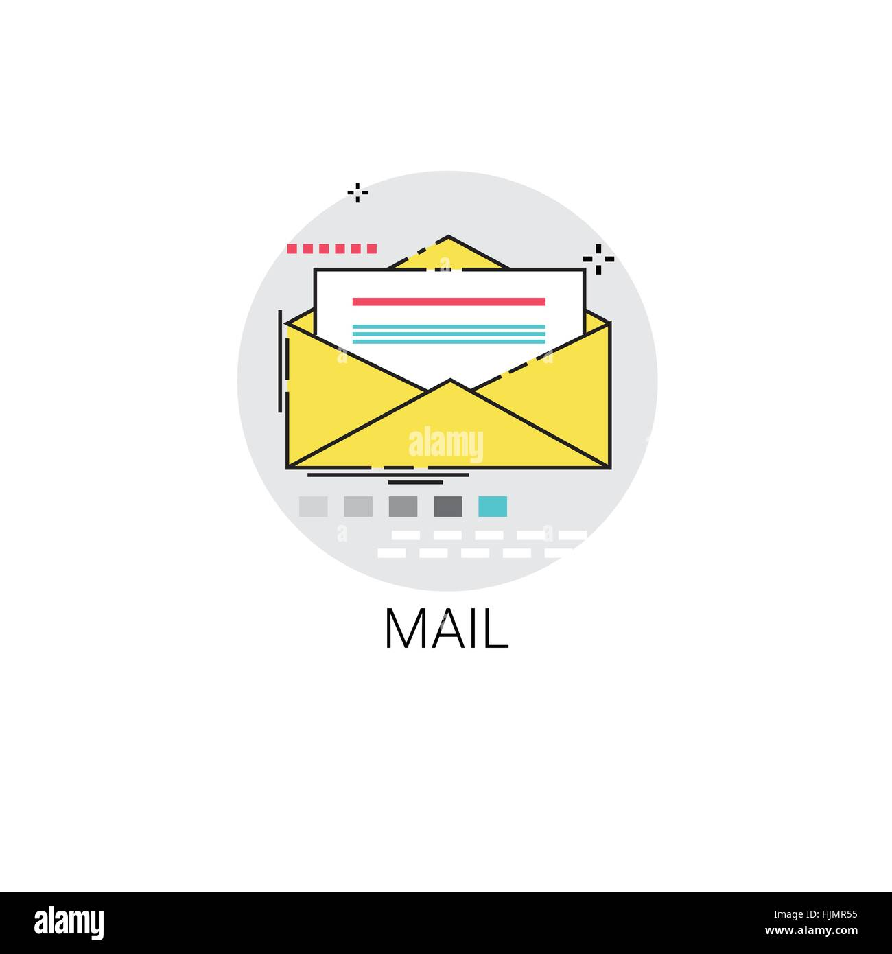 Notification Envelope Email Inbox Message Send Mail Icon - Stock Image