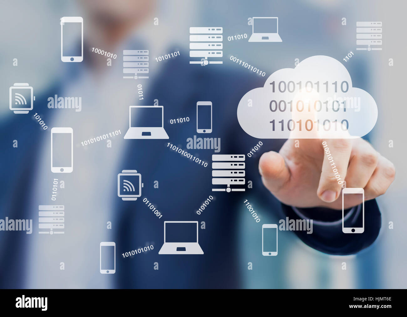 Data transmission and cloud computing concept with a network of servers, computers and devices exchanging binary Stock Photo