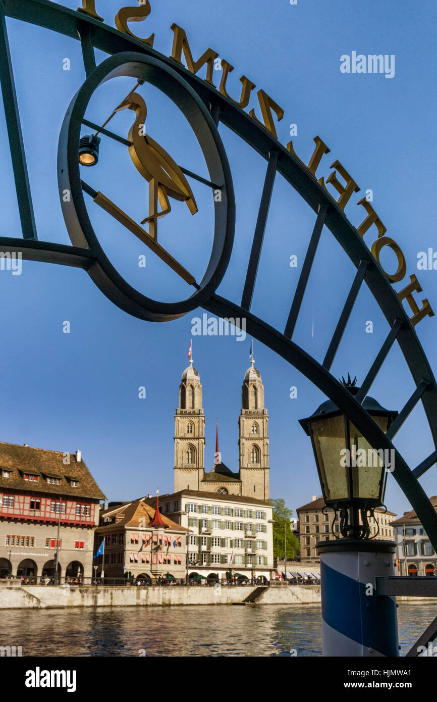 Pier Hotel Storchen , Limmat, Grossmunster, cathedral , Zurich, Switzerland - Stock Image
