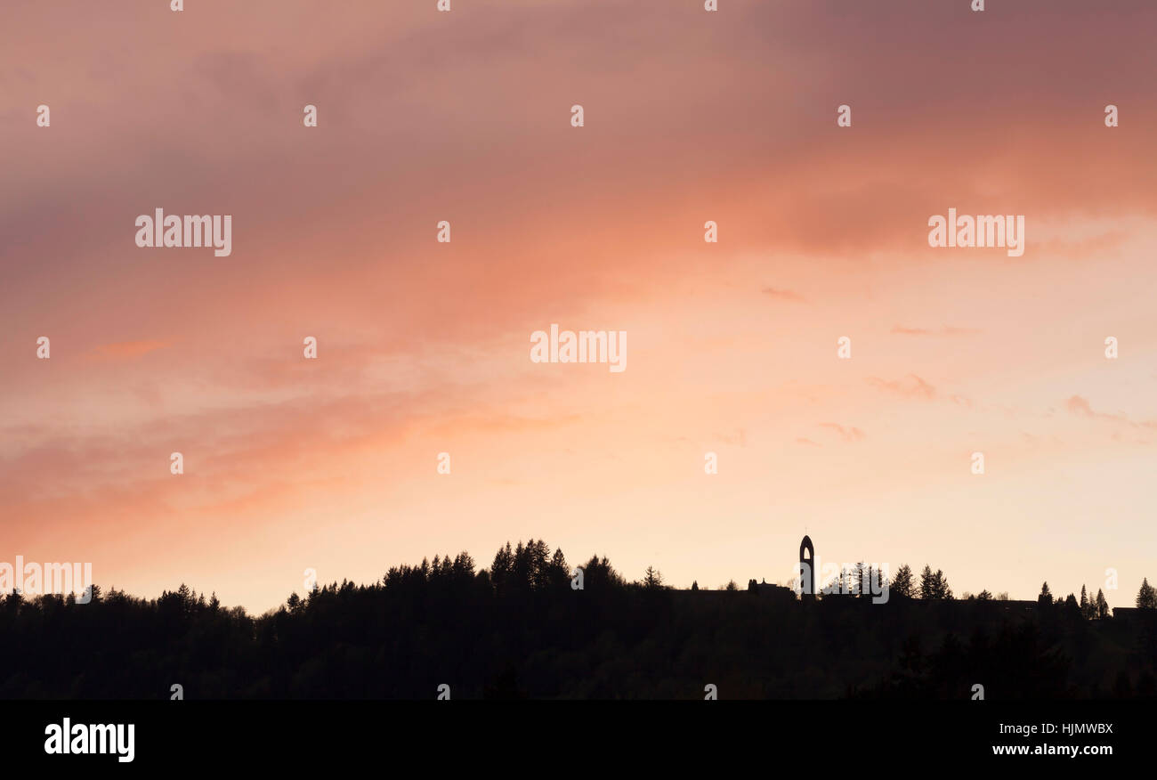 Westminster Abbey in Mission BC at sunset. - Stock Image