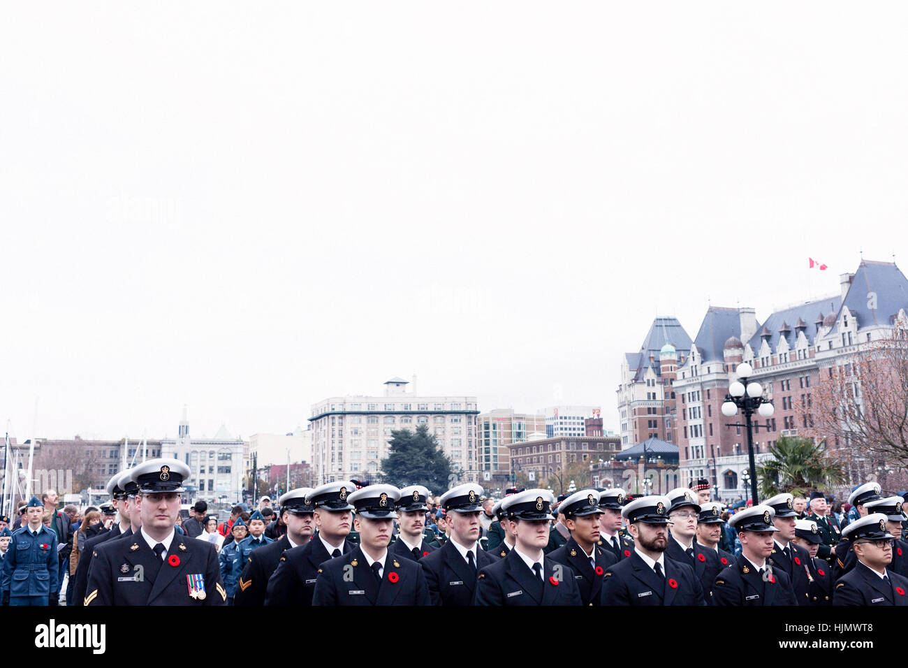 Members of the Canadian Navy at November 11 Remembrance Day event.  Victoria, BC. Canada - Stock Image