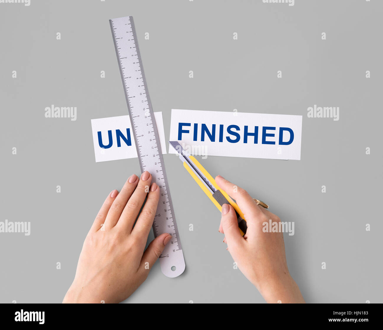 Unfinished Incomplete Hand Cut Word Split Concept - Stock Image