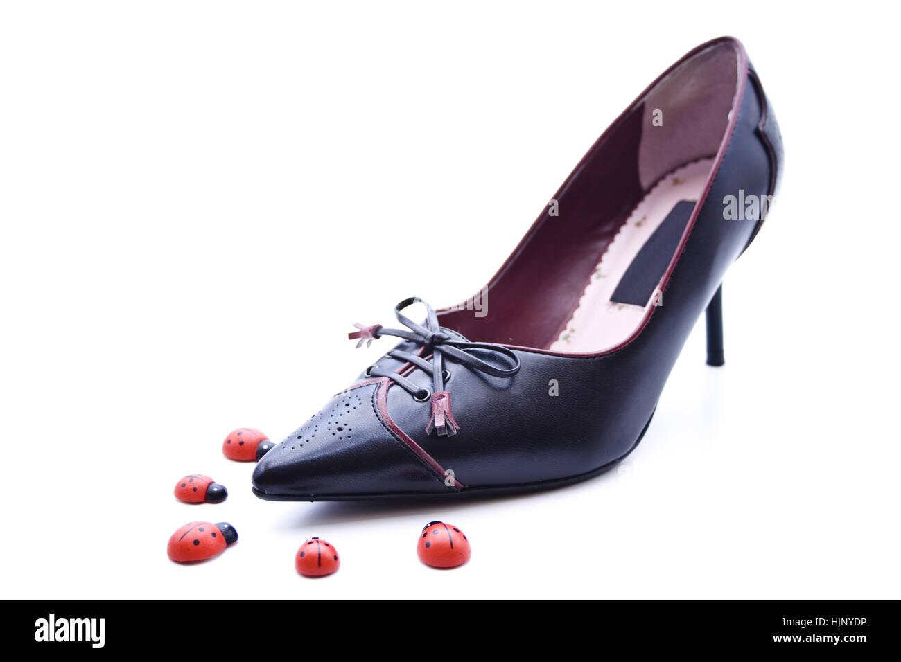 women's shoe with beetle - Stock Image