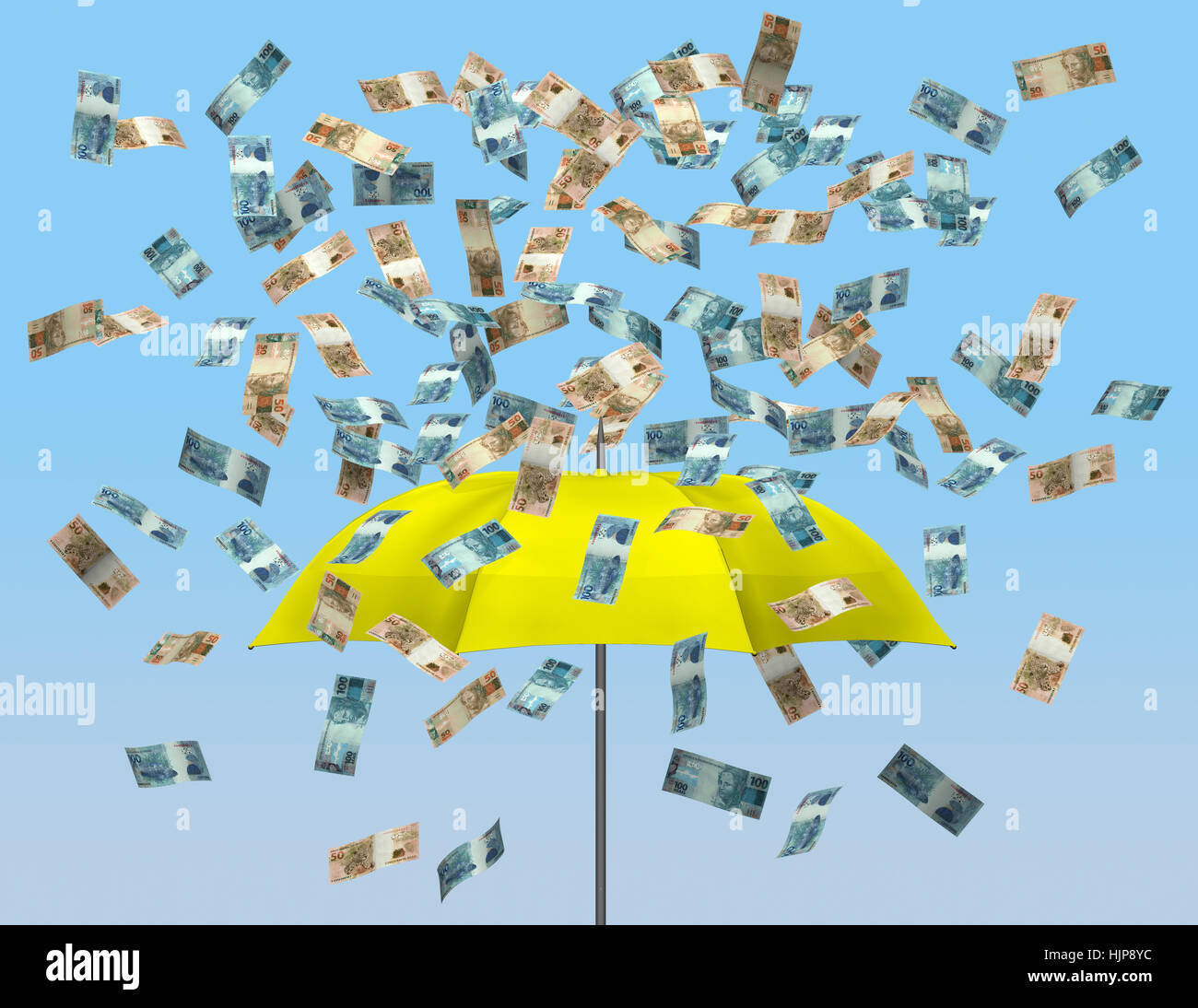 Umbrella and brazilian currency 3D - Stock Image