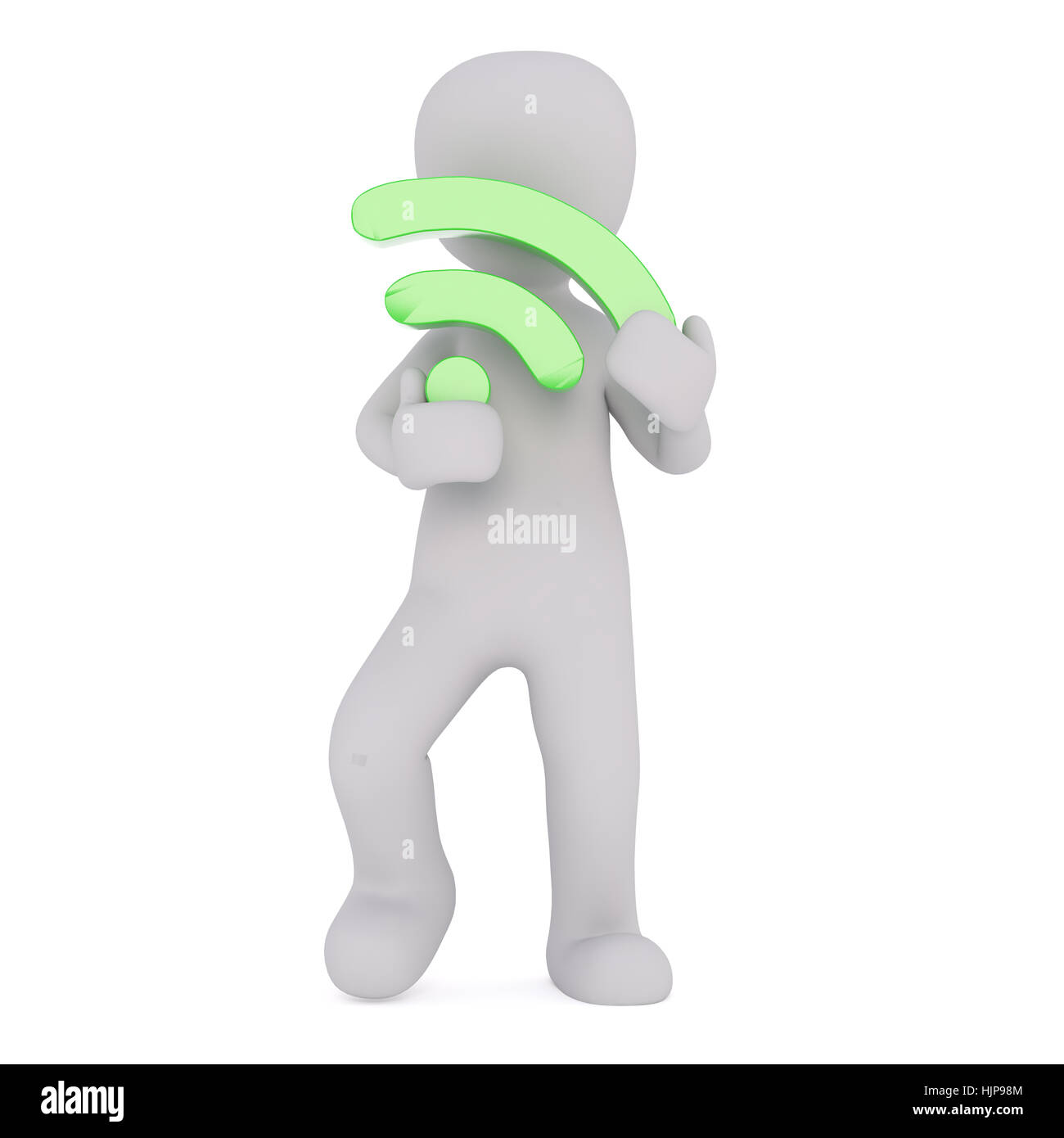 2a974a27f4320 Full body 3d toon holding green Wi-Fi wireless network sign on white  background