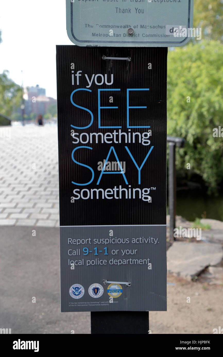 'If you see something say something' notice on the Charles River Esplanade, Boston, Massachusetts, United - Stock Image