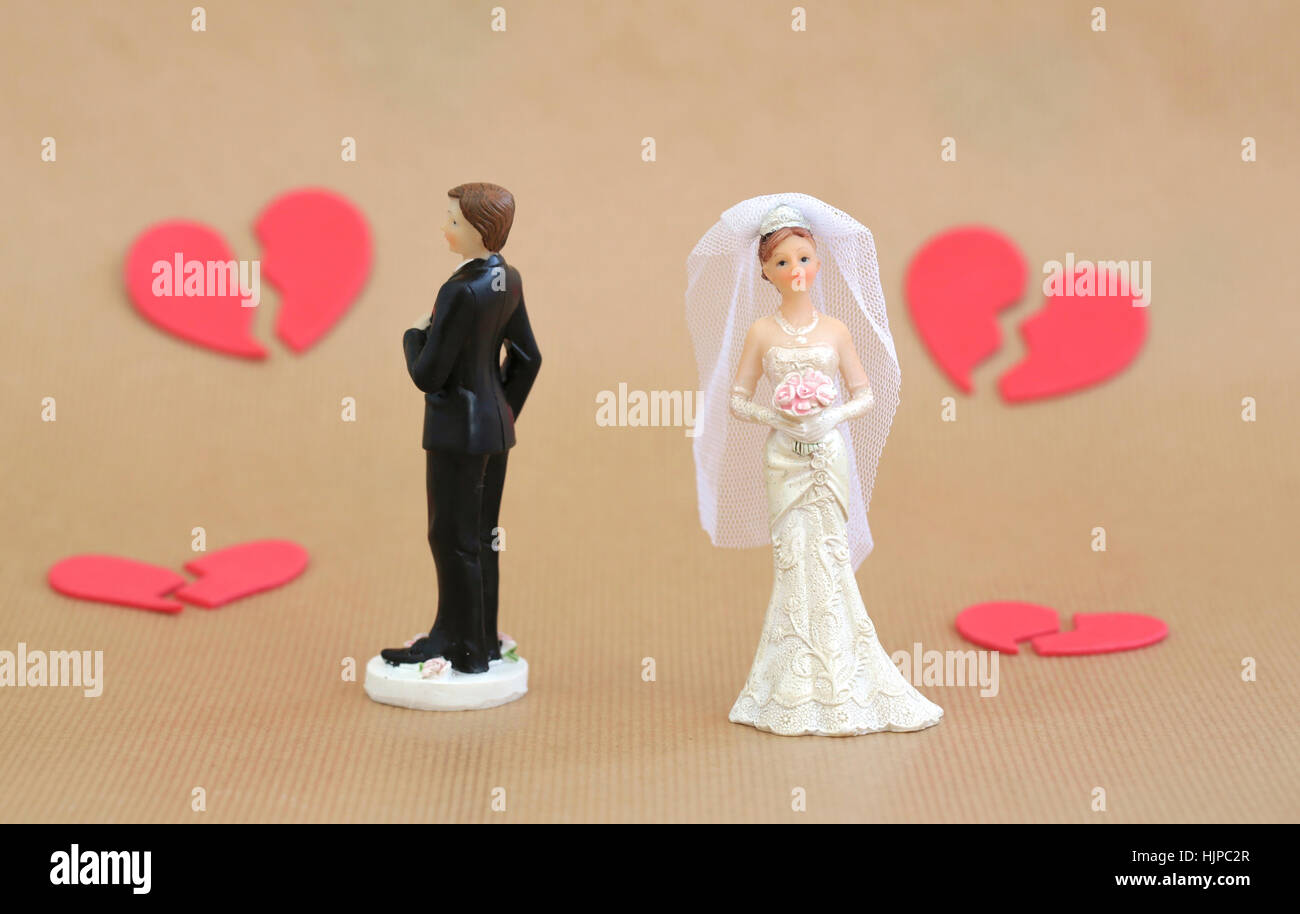 A divorced couple with broken hearts - Stock Image