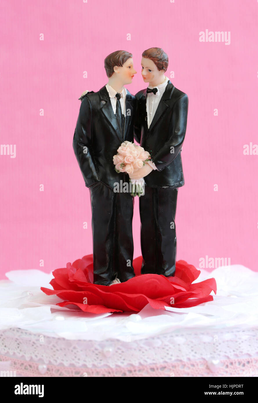 A homosexual couple against a pink background - Stock Image